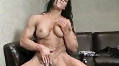 Muscular Brunette Plays With Huge Clit