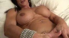 Nude Female Bodybuilder Strokes Her Huge Clit