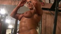 Naked Pro Female Bodybuilder Plays With Her Enormous Clit