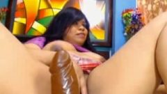 Starved Latina Dildoing Her Massive Creamy Pussy