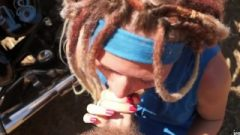 Outdoor Footjob And Blow Job With Dreadlocks Girl. Spunk On The Face