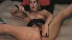 Naughty Brunette Vibrator Smacking Spurting Snatch Squirt