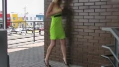 Nubile Skinny Fair-haired Flashing Kissable Body Near Market And Shops In Public