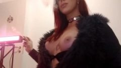 Redhead Smoking, Showing Huge Clit And Huge Breasts