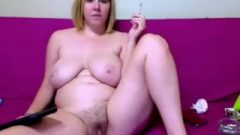 Chunky With Hairy Twat Smokes On Web-cam
